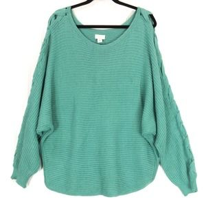 Caslon sweater green lace up sleeve
